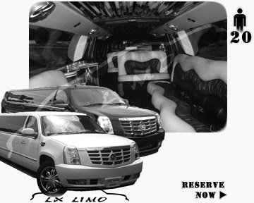 Cadillac Escalade 20 passenger SUV Limousine for rental in Raleigh, NC
